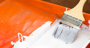 orange paint pan with paint brush and white paint for Armadillo Painting