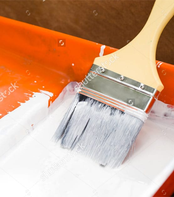 Seattle painting company orange paint pan with brush with white paint for Armadillo Painting