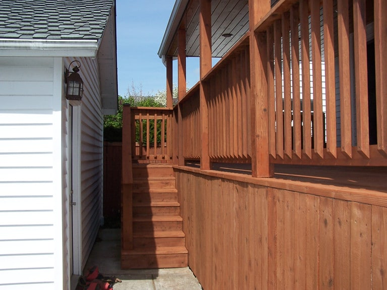 Deck staining example by Armadillo Painting