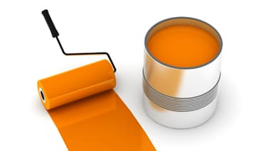 Can of orange paint and orange roller for contact page of Armadillo Painting